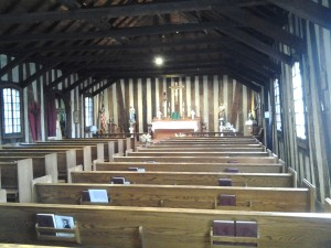 Interior of the historic Log Church, Holy Family Catholic Church, Cahokia, IL.